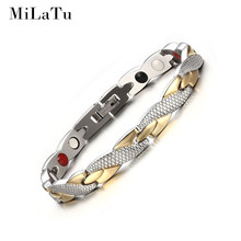MiLaTu 20cm Women Men Health Bracelet Gold color Stainless Steel Magnetic Germanium Bracelet Bangle Women Men