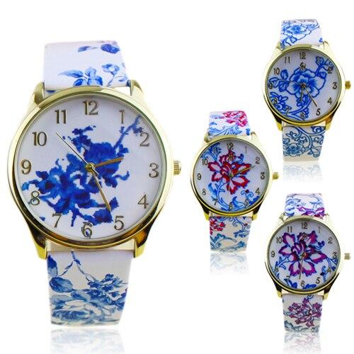 Popular Elegant Ethnic style Watches for Girls with Analog Elegant Flowers Pattern Quartz Wrist Watches NO181 5V5S popular women s flowers pattern faux leather analog ceramic style quartz watches no181 5v89 w2e8d