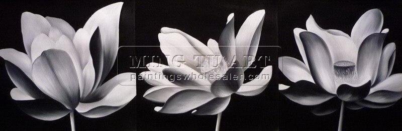 Handmade Modern Group Lotus Flower Oil Paintingfreeshippingblack