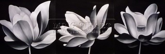 Handmade Modern group lotus flower oil painting,freeshipping,black ...