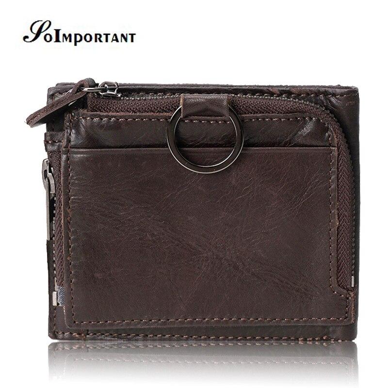 Vintage Genuine Leather Men Wallets Male Trifold PORTFOLIO MAN Short Small Portomonee Vallet With Coin Purse Pockets Mini Walet
