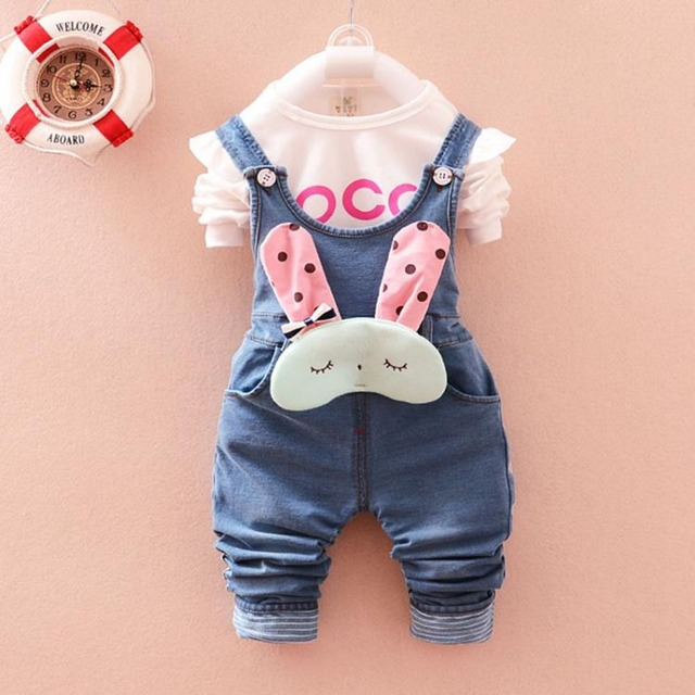 New Kids Clothing Sets Roupas De Bebe Baby Girls Letter T-Shirt Tops+Denim Jeans Cute Rabbit Overalls Pants 2 Pieces Suits MT301