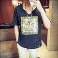 Verão Chinese Estilo Nacional Linho Masculino T-shirt Plus Size Bordado Camisas de Linho Casuais