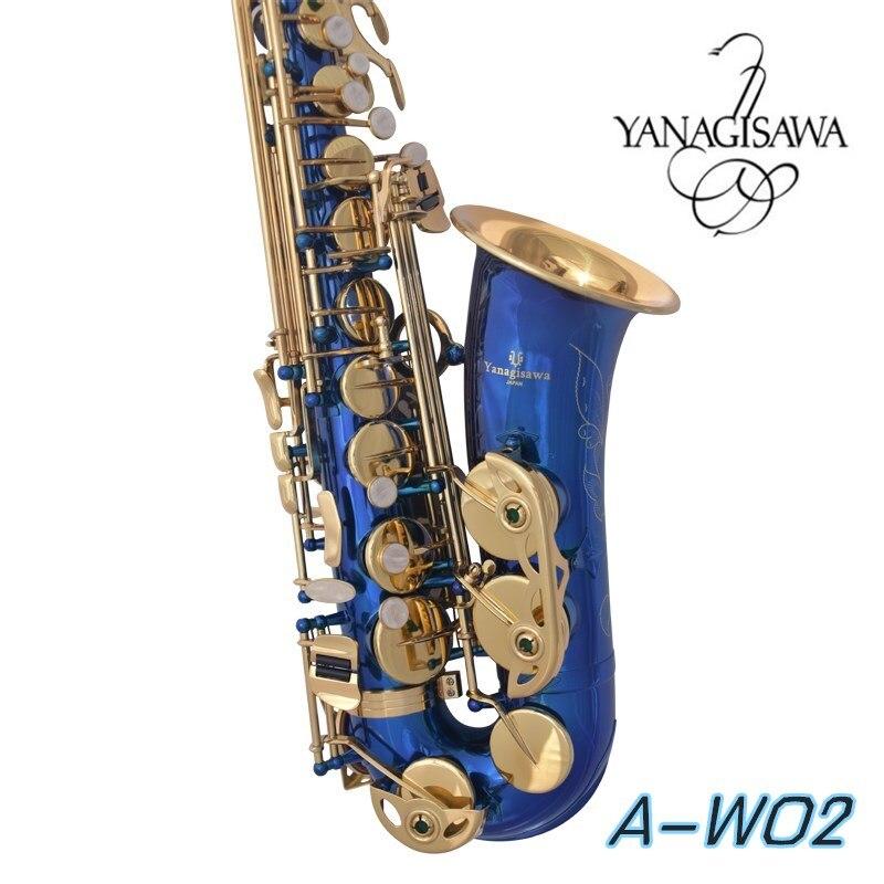 Japon Yanagisawa A-W02 Sax Eb Électrophorèse Or Professionnel instrument de musique Alto bec de saxophone Cas bleu saxophone