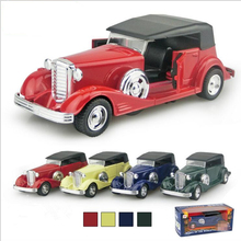 2016 1:32 Hot Child Toy Car Model alloy back Of The Retro Classic Cars Puzzle Simulation Sound And Light Version Gifts Boys x244