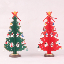 Red Xmas Trees Decoration Wooden,Happy New Year Christmas Tree Ornaments,Christmas Decorations for Home 2016,Mini Wooden Trees