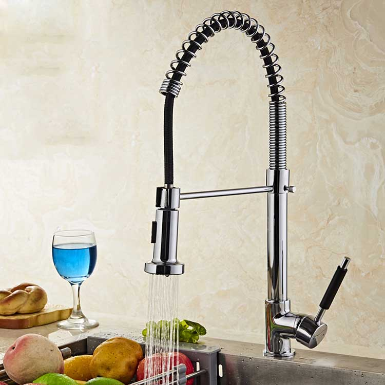 Free Shipping/Newly Design Solid Brass Single Handle Mixer Sink Tap Pull Out Chrome Kitchen Faucet Hot and Cold Water torneira spring pull out kitchen sprayer faucet brass material modern chrome double faucet design hot and cold wash basin sink mixer tap