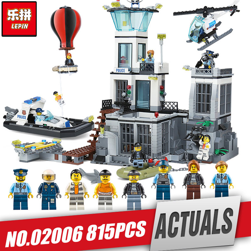 Free Shipping Lepin 02006 City Police PRISON ISLAND Building Blocks Figures Model Bricks Toys Gift Compatible With Legoing 60130 lepin 02006 815pcs city series police sea prison island model building blocks bricks toys for children gift 60130