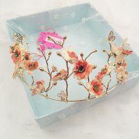New Korean Pink Fresh Sen Female Simulation Flower Crystal Bride Crown Headdress Wedding Wedding Accessories 1060