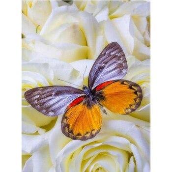 Bordado de diamantes yikie flores mariposa punto de cruz DIY pintura de diamantes mosaico de diamantes de imitación decoración para el hogar k004