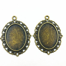 Cameo Pendants Antique Bronze Tone Classic Oval Flower Lace Metal For 25x18mm Charms Craft Jewelry DIY Accessories 39x30mm 10Pcs