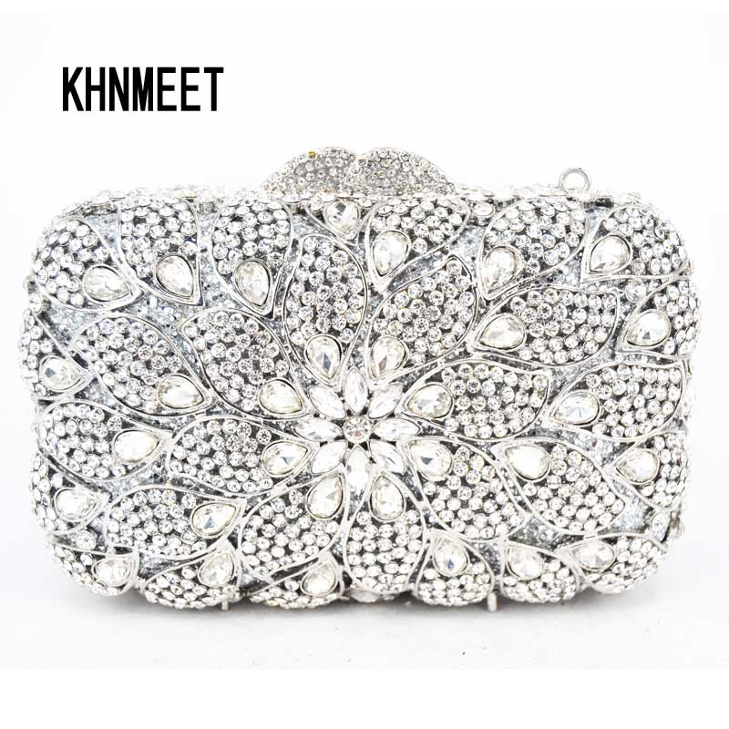Champagne Crystal Clutch Bag Luxury Diamond Women Wedding Handbag Feast Banquet Bag Party Purse Wristlets Free Shipping SC498 luxury real new arrival day clutches diamonds flower women bag banquet crystal handbag wedding party handbags night clubs purse