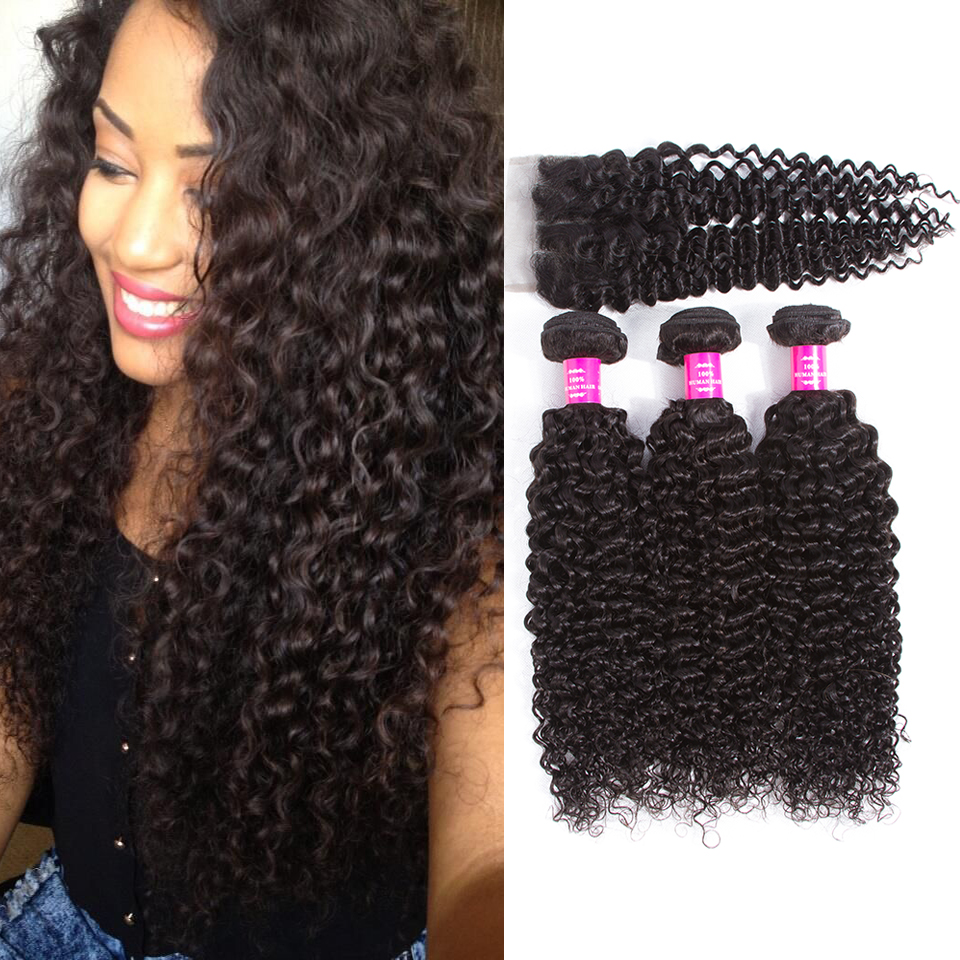QueenLike Hair Products Malaysian Kinky Curly Hair With Closure Non Remy Hair Weave 3/4 Bundles Human Hair Bundles With Closure