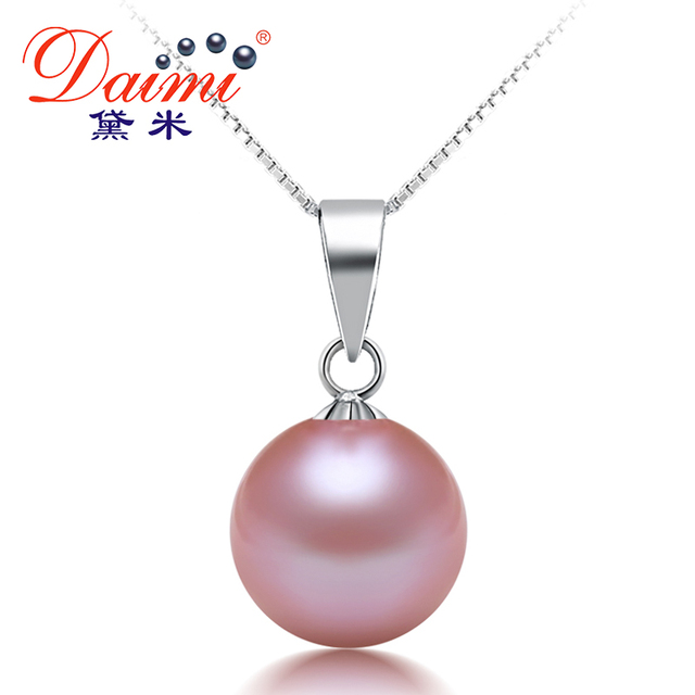 4a80e910d3508 US $55.0 |DAIMI Women Fine Jewelry 8 9mm White /Pink/Purple Single Round  Pearl Pendant Necklace 925 Silver Chain Best Gift DF-in Necklaces from ...