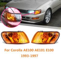 1 Pair Car Front Signal Coner Light No Bulb Amber Lens Glass Lamp For Toyota Corolla AE100 AE101 E100 1993 1994 1995 1996 1997
