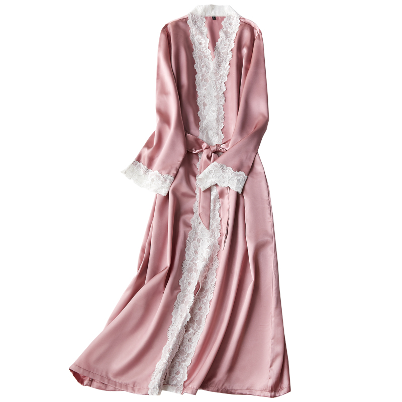 Silk Lace Long Robe Summer Ladies Nightgowns Women's Thin Bathrobe  Sexy Ladies Silky Bathrobe Women Indoor Nighty
