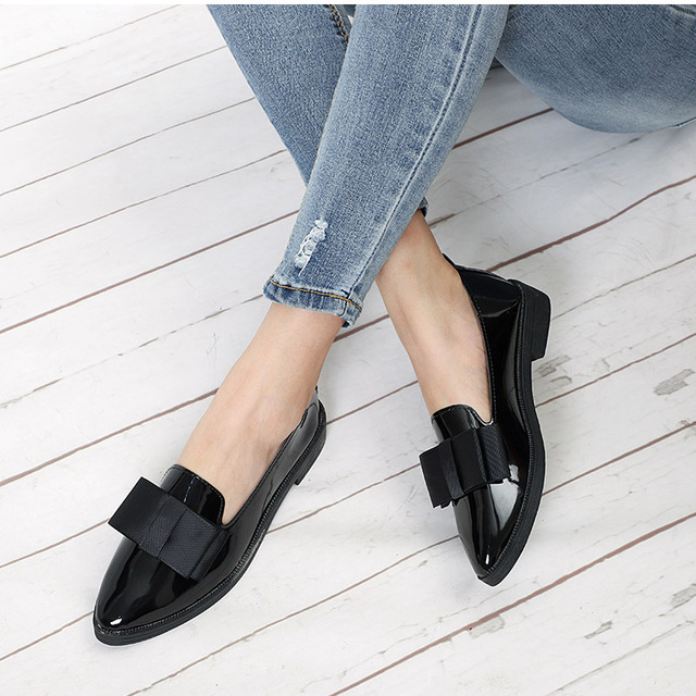 MCCKL Spring Flats Women Shoes Bowtie Loafers Patent Leather Elegant Low Heels Slip On Footwear Female Pointed Toe Thick Heel