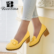 Купить с кэшбэком RizaBina Women Thick High Heels Shoes Women Slip On Bowknot Solid Color Heels Pumps Platform Daily Zapatillas Mujer Size 34-43