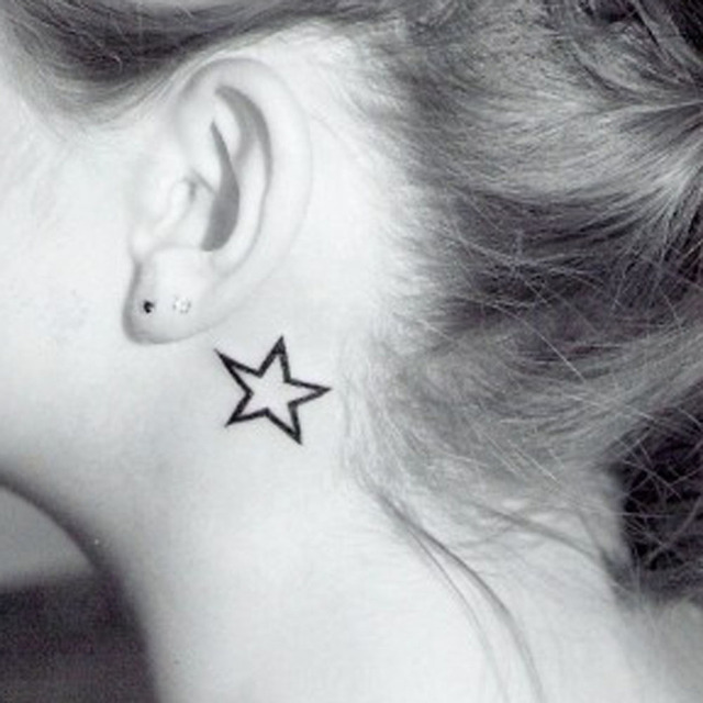 Newly Design Hollow Solid Black  Five-pointed Star  Hollow Waterproof Temporary Tattoo Stickers