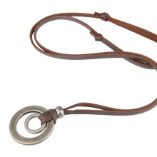 ZMZY Double Circle New Arrival Fashion Long Genuine Brown Leather Vintage Hoops Men Pendant Necklace Women Male Female Jewelry(China)