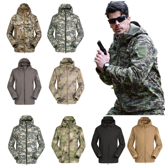 Men Outdoor Hunting Camping Waterproof Coats Soft Shell Hiking  Camouflage Jacket With Hood