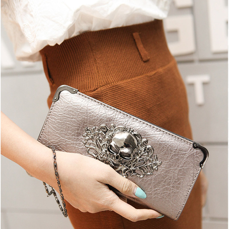 Hot Fashion Metal Skull Pattern PU Leather Long Wallets Women Wallets Portable Casual Lady Cash Purse Card Holder Gift  Popular 2015 hot fashion women wallets bag solid pu leather long wallet portable change purse portefeuille lady cash phone card purse