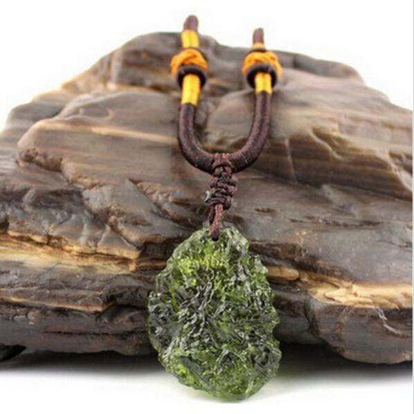 Hot Sale A++ Natural Moldavite green aerolites crystal stone pendant energy apotropaic4g-6g/ lot+ free rope Unique Necklace(China)