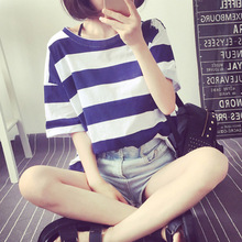 Female T-shirt loose short sleeved Summer East Gate of Han van all-match students code simple and casual striped shirt