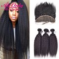 Brazilian Kinky Straight Hair With Closure Ear to Ear Lace Frontal With Closure 3 Bundles Brazilian Hair With Closure Human Hair