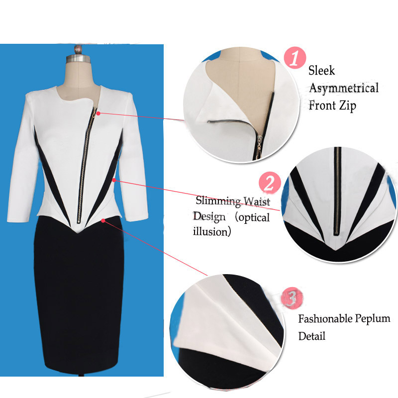 2016 Ladies Elegant Long Sleeve Black and White Dress Pencil Women Formal Dresses for Work Party Tunic Office Bodycon