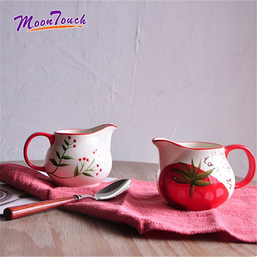 Simple Ceramic Milk Jugs Handle Porcelain Matte Glazed Surface Sauce Cup Sharp Eagle Mouth Frothing Pot Coffee Container