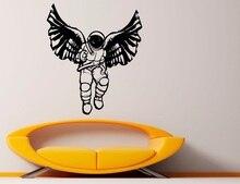 ויניל מדבקות הנוצרי Cosmonaut כנפי מלאך כנפי דת נצרות סלון חדר שינה בית תפאורה קיר מדבקות 2CB9