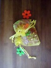 200 unids amarillo del regalo del organza bolsas 13×18 cm bolsos de fiesta para las mujeres evento casarse bolso de Lazo de Exhibición de La Joyería bolsa de Bolsa de accesorios de bricolaje