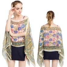 все цены на 145*90cm 2019 New Summer Print Silk Scarf Oversized Chiffon Scarf Women Beach Cover Up Wrap Sarong Sunscreen Long Cape Female онлайн