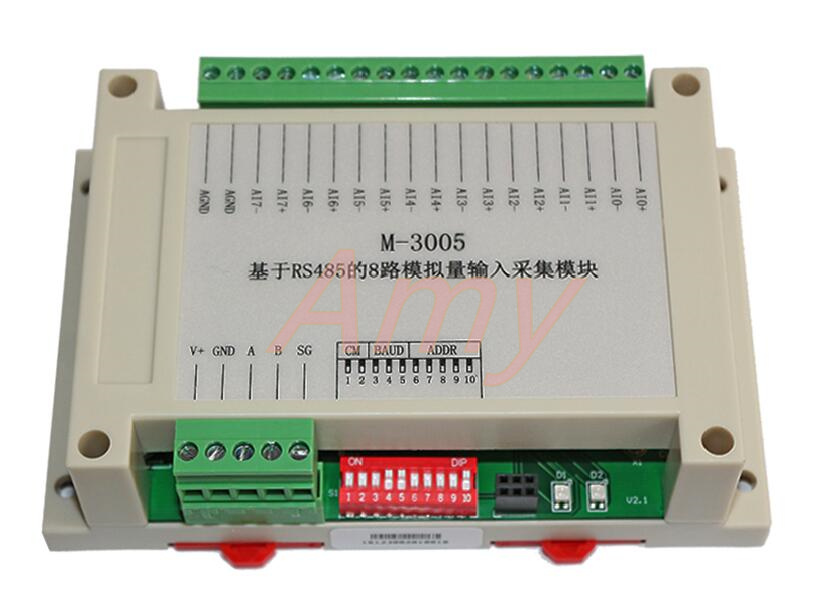 M-3005 Modbus based 8 channel voltage / current analog differential input module with high reliability
