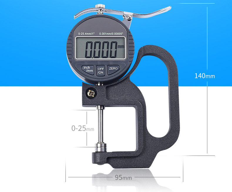 0-25MM Digital Thickness Gauge Meter 0 01--0 001MM digital LCD Electronic  Micrometer micron Thickness Tester Measuring Tools