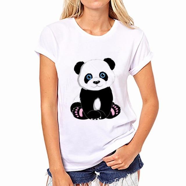 100% Pure Cotton T-Shirt Summer 2018 Selling Fashion Round Collar T Shirt Adorable Panda Cute TShirt Women kawaii Clothes Casual