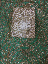 Silver and gold colors African French Lace Fabric High Quality African Tulle Lace Fabric with Glued glitter sequins JRB-32520
