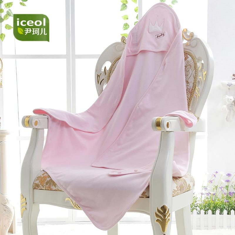 Double Layer Fabric Blanket 100% Cotton Newborn Pink Blue Sleepsacks New Sleeping Bag Safe Belt Baby Infant Swaddle Wrap