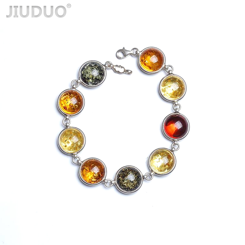 JIUDUO Amber bracelet Natural real amber 925 sterling silver Chain bracelet Fine gems jewelry