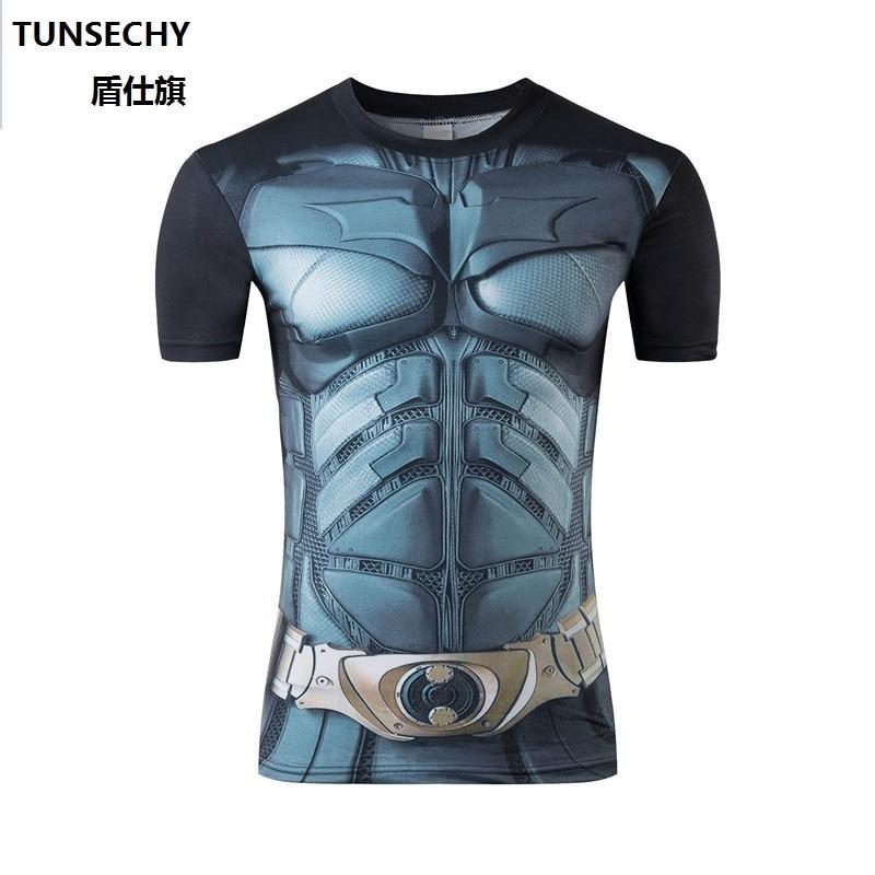 Moto 2016 marvel batman compression shirt fitness tights crossfit quick dry short sleeve t shirt tee