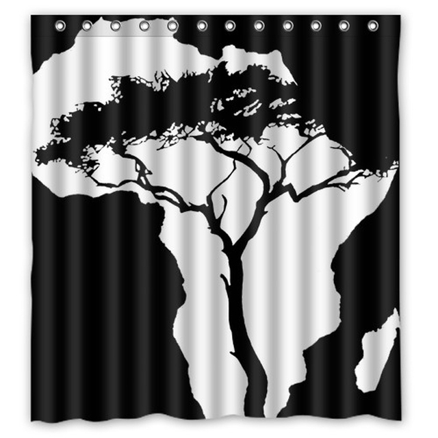 The White Tree Map Of Africa And Black Customize Curtain Bathroom