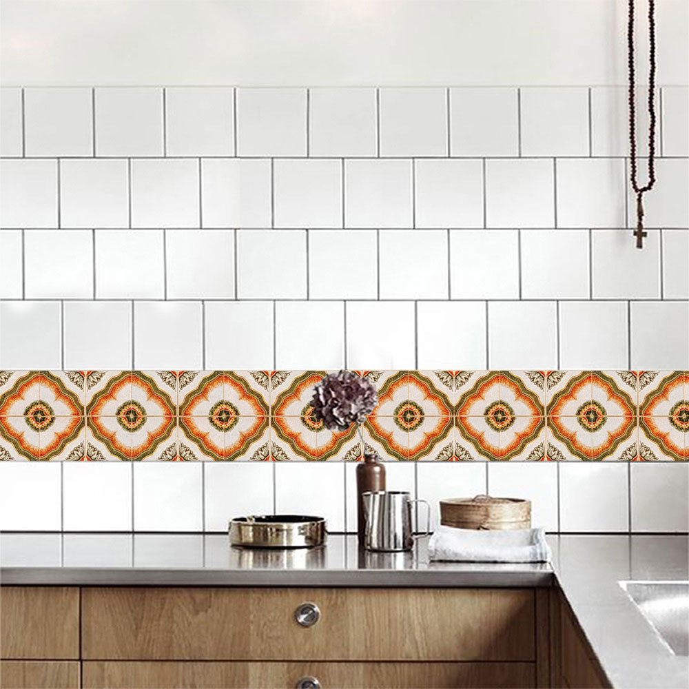 XCZ090 personalized retro laminated tile wall sticker cabinet TV background kitchen decoration