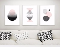 3 pezzi grafici Geometrici estetica semplice decorativa su tela dipinto moderno wall art for living room home decor