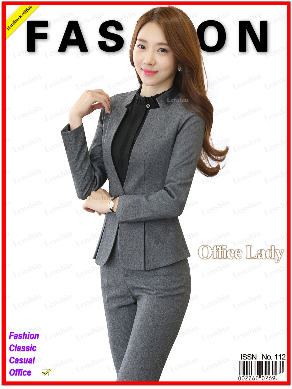 7c95bdb0 US $49.9 |2 piece Gray Pant Suits Formal Ladies Office OL Uniform Designs  Women elegant Business Work Wear Jacket with Trousers Sets-in Pant Suits ...