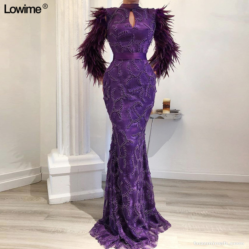 High Quality Purple Muslim Evening Dress Mermaid Formal Dubai Turkish Long Sleeves Feathers Evening Gowns With Sash And Beads in Evening Dresses from Weddings Events