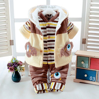Autumn & Winter Newborn Boys Infant Baby's Clothes Set khaki Cute Monster Design Add Cotton Padded Thick 0 7T Baby 3 pieces/Set