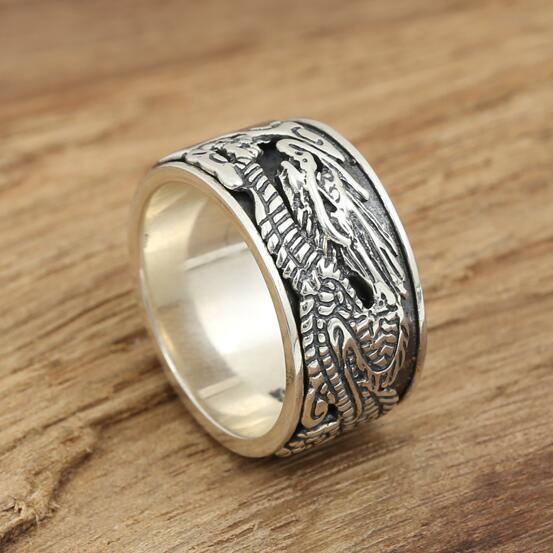 Handmade 925 Ring Dragon Ring Man Njeriu Thai Sterling Silver Silver Ring Unaza Luck Good