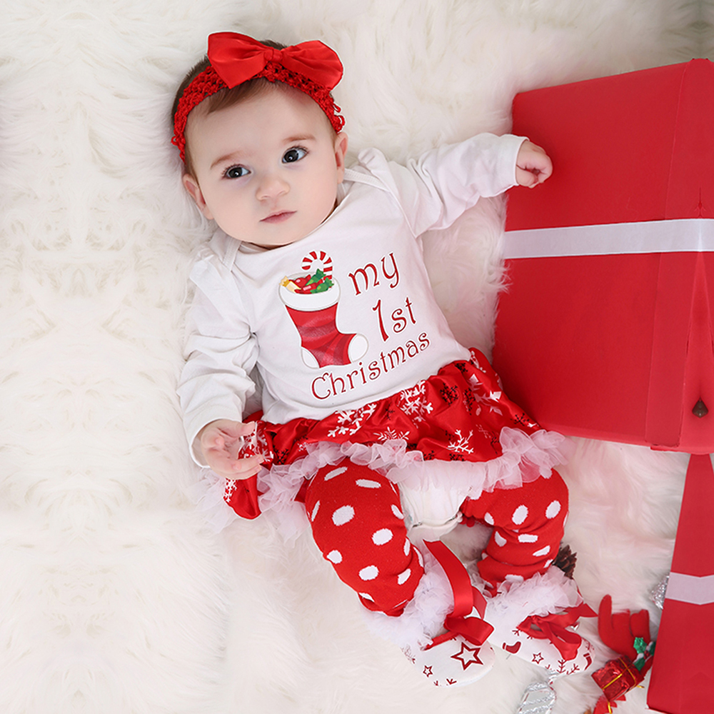 Christmas Baby Clothes Snowflake Long Sleeve Newborn Romper Dress