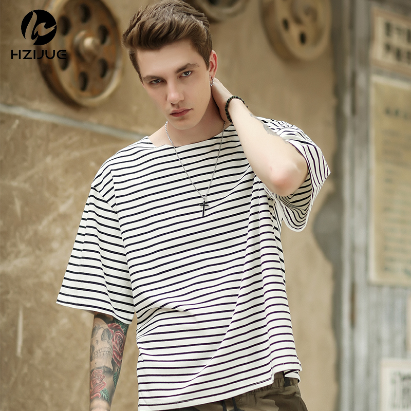HIP HOP brand Mens stripe T Shirts T-Shirts Men Cotton Half Sleeve tee tops oversized